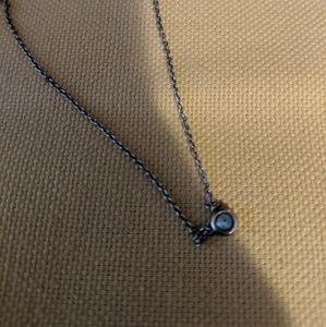 Tiffany & Co silver necklace with small sapphire